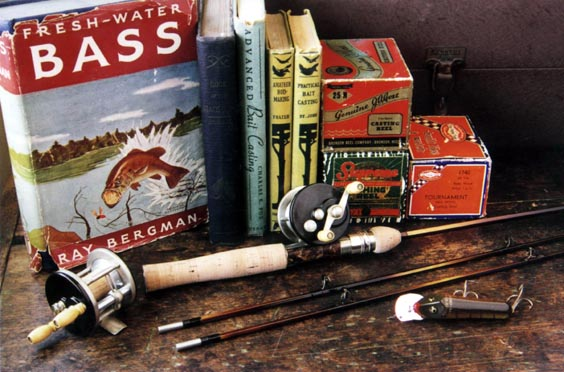 baitcaster and vintage reading material