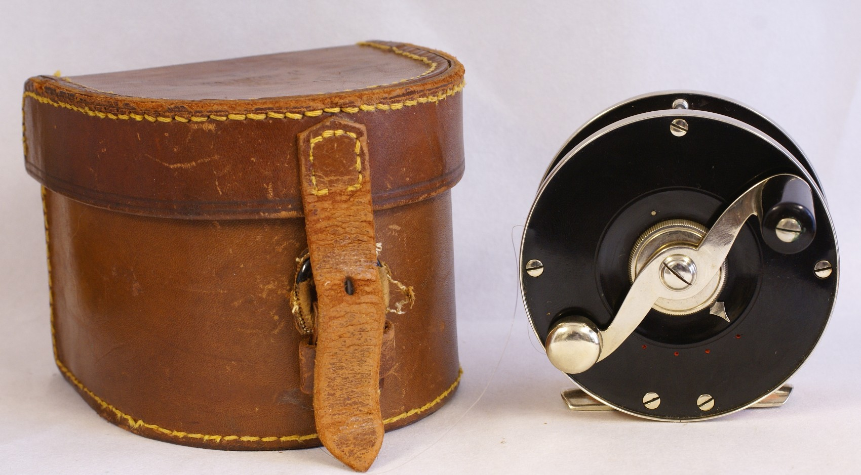 Vintage Edward vom Hofe Model 360 Perfection flyreel, JD. Wagner, Agent